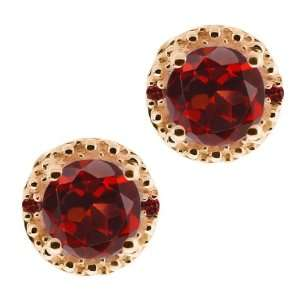 Red Garnet Gemstone Gold Plated Argentium Silver Earrings Jewelry