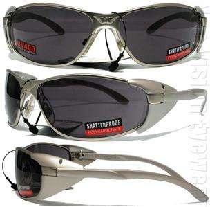 Smoke Metal Safety Glasses Sun Motorcycle Side Shields Z87.1