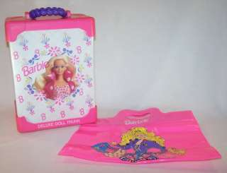 1994 Barbie Deluxe Doll Trunk Case Closet Holds 2 Dolls Pink Tote Bag