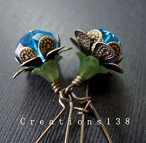 Blue Glass Flower Bead Antique Brass Costume Earrings