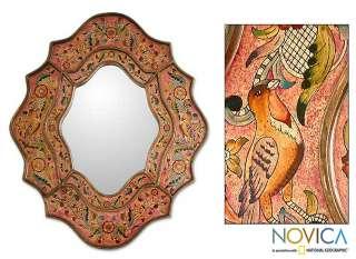 SONGBIRD PARADISE Peru REVERSE PAINTED Glass ART Mirror