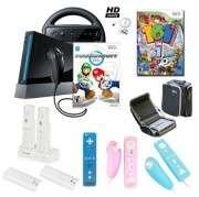 Nintendo Wii Black Mario Kart Fun Holiday Bundle with Games, Travel