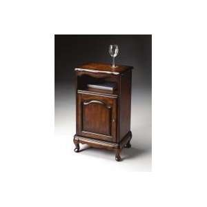 Wood and Antique Brass Telephone and Night Stand Cabinet by Butler